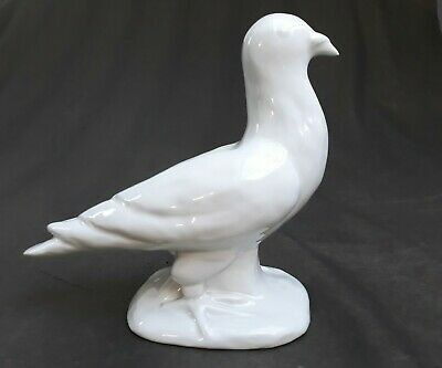Haeger Art Deco Pottery White Pigeon Figure Bird Glazed