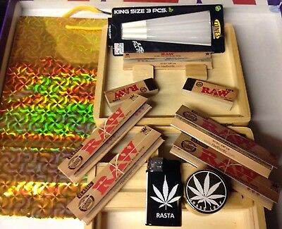WOOD ROLLING BOX GIFT/KIT LARGE, Quality metal grinder,Tobacco Weed Grass Etc