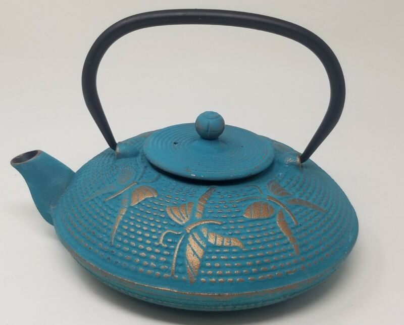 Turquoise Gold  Butterfly Cast Iron Tea Pot