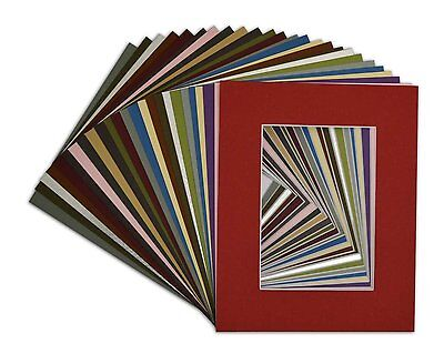 Set of 25 8x10 MIXED COLORS White Core Picture Mats for 5x7 Photo