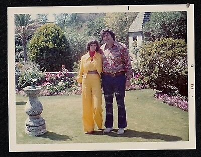 Vintage Photograph Man & Woman in Gorgeous Garden - Cool Retro Outfits