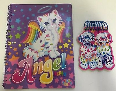 Lisa Frank Angel Kitty spiral notebook and Dalmatian puppy notepad rainbow BLANK