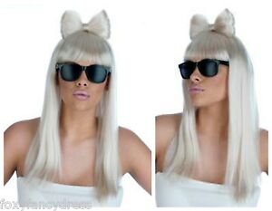 Long-White-Blonde-Wig-Bow-Lady-Gaga-Diva-FREE-Black-Glasses-Fancy-Dress