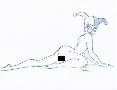 Harley Quinn Naked (Harley Quinn Convention Blue Line NUDE Sketch by Batman Animator - Art)