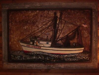 """VINTAGE 1970s RED LOBSTER RAISED ART ONE OF A KIND 38"""" X 55"""" X 4"""" RESTAURANT ART"""
