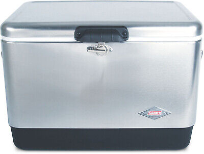Coleman Steel-Belted Portable Cooler Box Retro Classic 54 Quart Stainless (Coleman 54 Quart Steel Belted Cooler Silver)