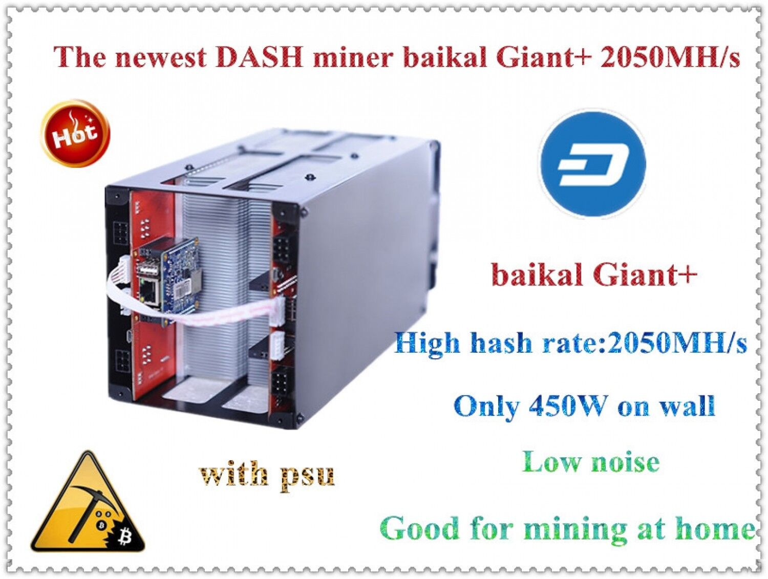 Купить Baikal Giant+ Dash Miner 2000mh/s X11 With Power Supply Only 450w