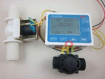 G34 Water Flow Control Lcd Displayflow Sensor Metersolenoid Valve Gauge