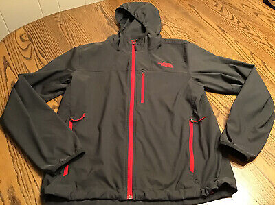 North Face Men's Charcoal Gray Red Trim Zip Front Hooded Jacket - Size Medium