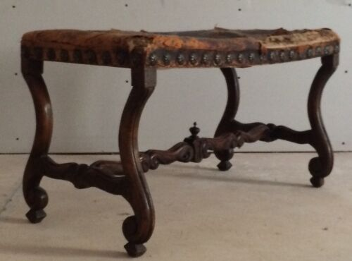 Amy Perlin Antiques 19th C Bench Provencal France Leather Nailhead Carved