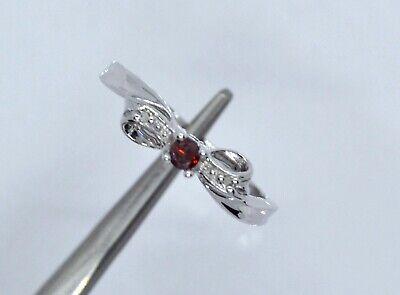 10k White Gold Garnet & Diamond Bow Ring Size 6.25 RS310