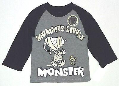 Halloween Toddler Shirts (Toddler Boy Snoopy Mummys Little Monster Woodstock Halloween Shirt 12M 3T 4T)