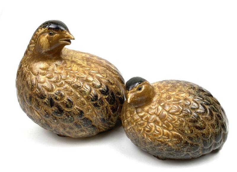 Set of 2 Vintage OMC Otagiri Ceramic Quail Partridge Japan Mother Baby