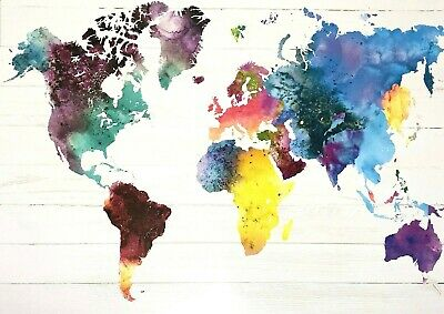 World Map Water Colours Poster 61x91cm Home Decor