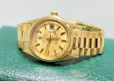 Men's  1966 Rolex Day-Date President 1803 (18K Yellow Gold) Watch Champagne Dial