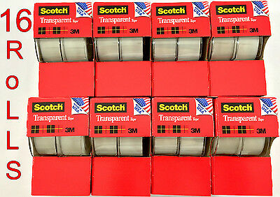16pc 3m Scotch Tape Clear Office Transparent 34 250 W Desktop Dispenser Lot