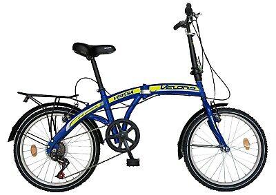 """Bicicleta plegable 20 """"VELORS V2055A, cuadro de acero, 6 velocidades, azul"""