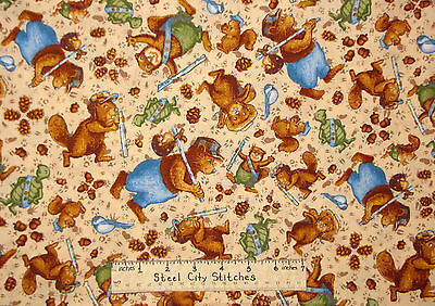 Rjr Ramblin Woods Bear Beaver Squirrel Bird Turtle Cream Cotton Fabric Yard