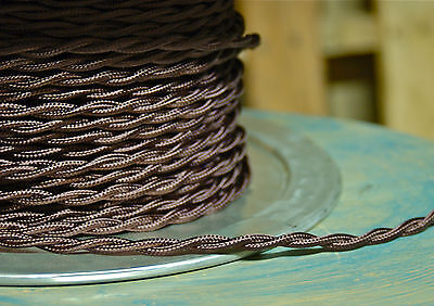 Brown Twisted Rayon Covered Wire, Vintage Style, Cloth Lamp Cord, Antique Lights