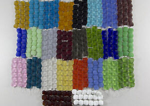 1-Strand-Frosted-Matte-Flat-Square-Nugget-Beach-Sea-Glass-Beads-U-Pick-The-Color