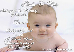 40 Personalised Christening invitations. Childrens / Baby boy or girl any colour