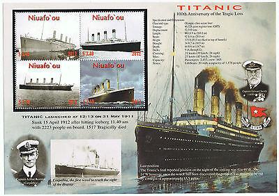 Niuafo'ou 100th Anniversary of the Cruise Ship Titanic Large Souvenir Sheet