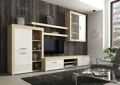 Parete attrezzata Besko bianco rovere mobile TV soggiorno sala da pranzo 293 cm