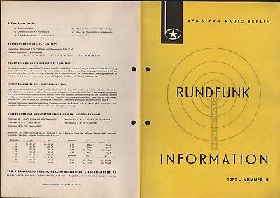 BERLIN, Prospekt 1962, VEB Stern-Radio Berlin Änderung zur Standardisierung