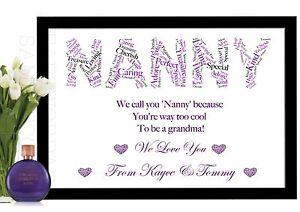 nanny gifts christmas nan nannie nanna nana personalised birthday print a4 size