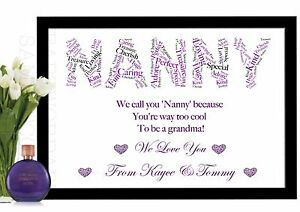 Word Art Print for NANNY NAN NANNIE NANNA personalised gift Birthday Anniversary