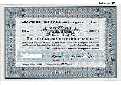 AEG-Telefunken Kabelwerke Rheydt DM Aktie 1977 Nexans MönchenGladbach AEG NRW
