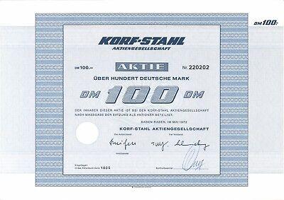 Korf-Stahl AG 100 DM 1972 + Restkupons