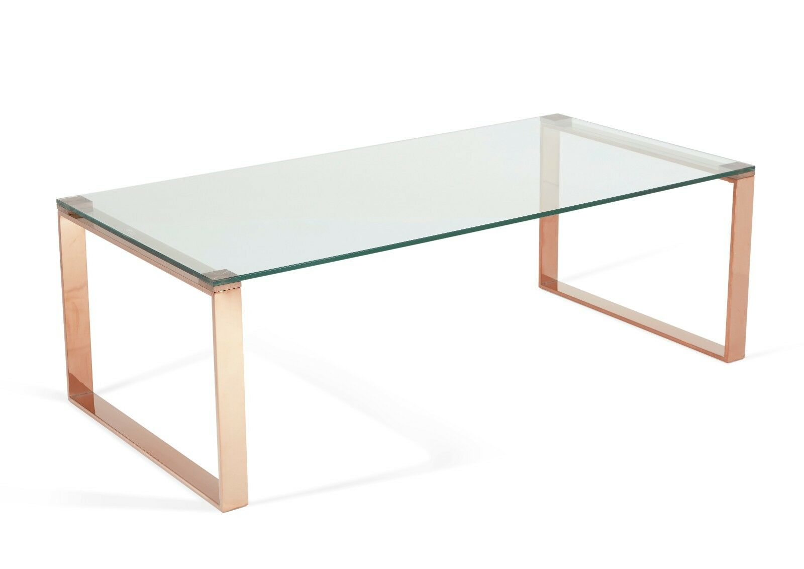 Asger Glass Top Coffee Table In Steel Gold Or Rose Gold Metal Frame Ebay