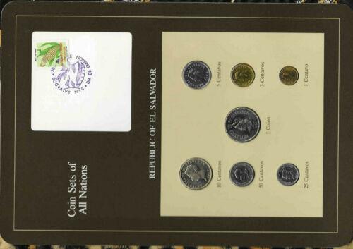 Coin Sets of All Nations El Salvador w/card 1974-1984 UNC 3 cent 1974 3 @ 1977