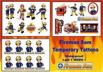 FIREMAN SAM temporary TATTOOS  waterproof party bag stickers LAST1 WEEK+ (Fireman Tattoo)