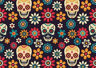Pretty Cool Sugar Skull Poster Print Size A4 / A3 Halloween Poster Gift #8404
