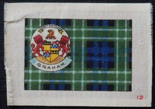 GRAHAM Clan Tartan and Coat of Arms 99 year old SILK card issued in 1922