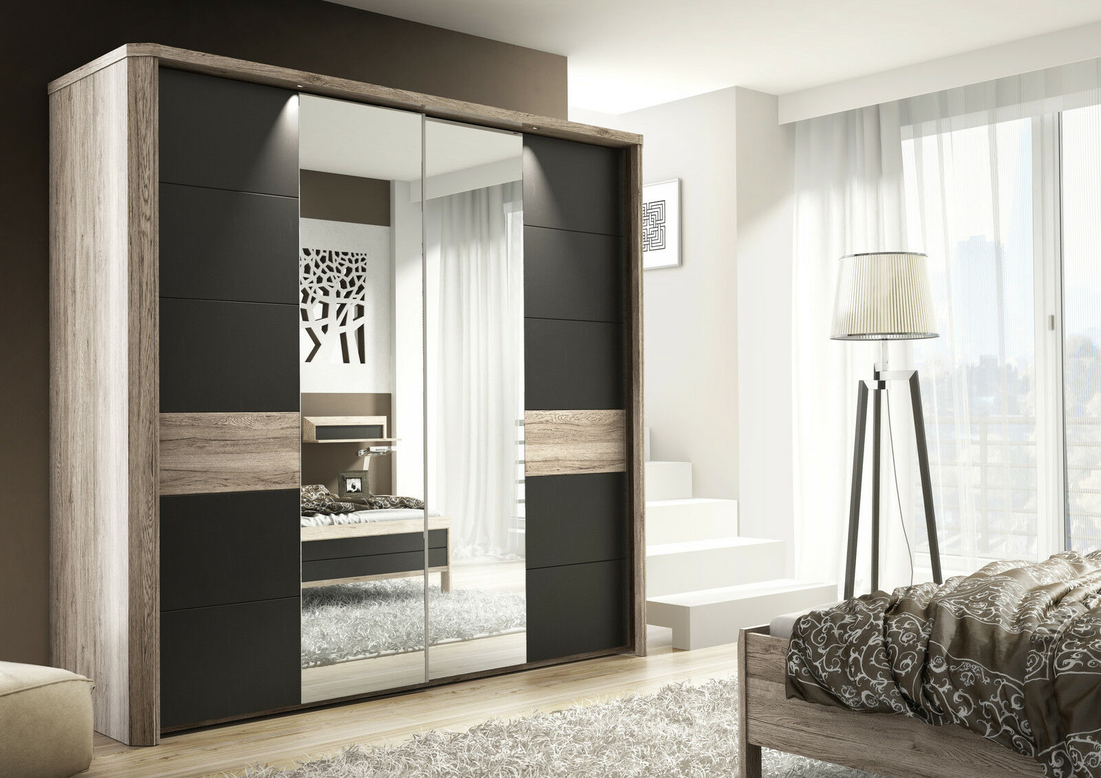 Marva Sliding Door Slider Wardrobe Cupboard Oak Effect And Dark