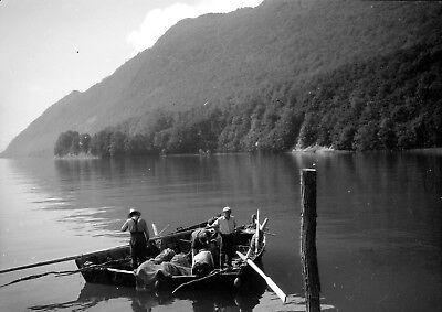 Aix les bains lac du bourget ? barque pêcheurs - ancien négatif photo c.1930