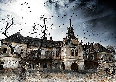 A4  Cool Ruined Haunted House Poster Print Size A4 Halloween Poster Gift #16187