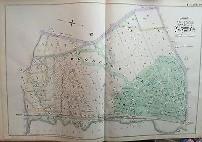 (1888 HISTORIC WOODLAWN CEMETERY BRONX NEW YORK REPRODUCTION E ROBINSON ATLAS MAP)