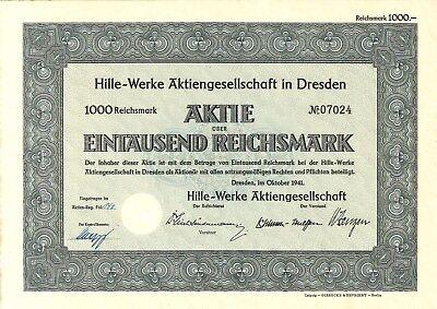 Aktie Hille-Werke AG 1000 RM 1941 Dresden