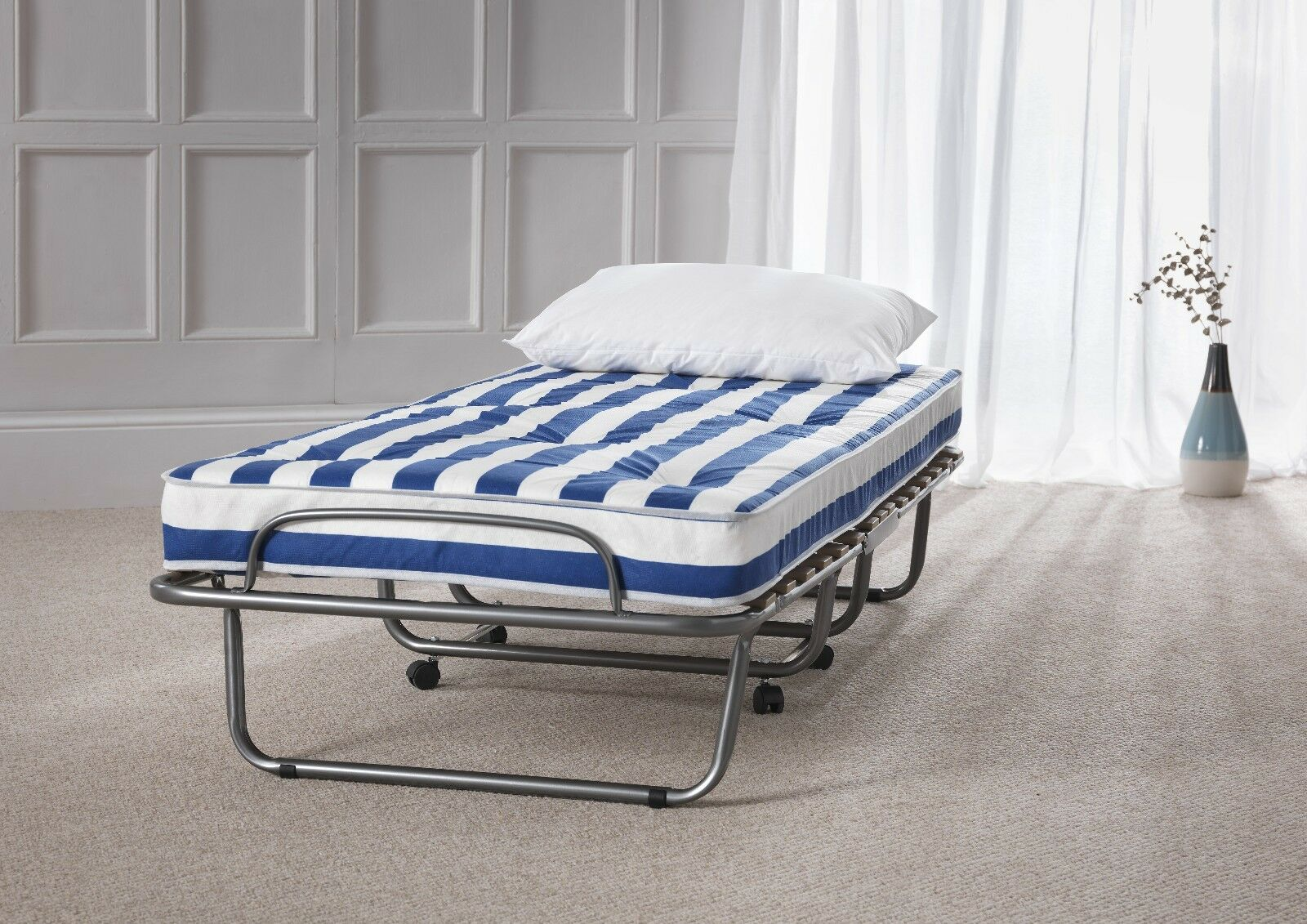 - Luthor Folding Single Guest Bed Fold Away With Coil Sprung Mattress Slats  Metal EBay