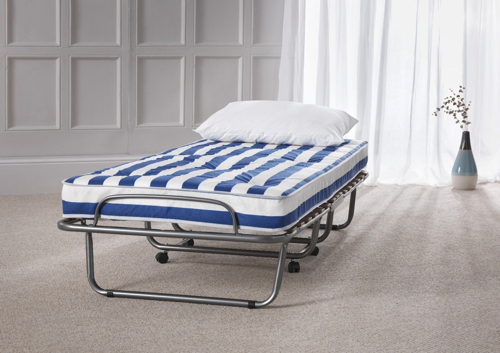 luthor folding guest bed or spare room foldaway bed with coil spring mattress - Fold Away Bed