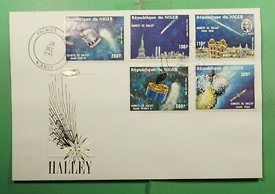 DR WHO 1985 NIGER FDC SPACE HALLEYS COMET CACHET COMBO  Lg13474
