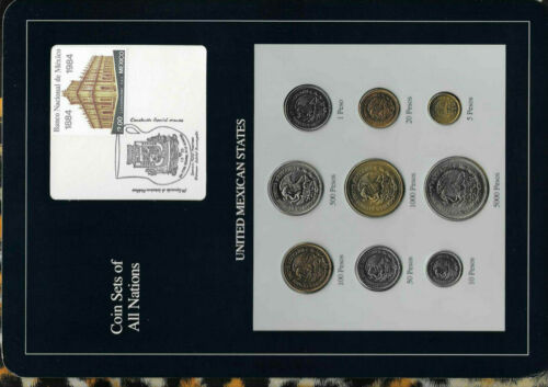 Coin Sets of All Nations Mexico 1987-1990 UNC 20,500,100,1000,5000 Pesos 1988