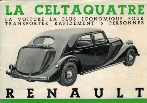 Vintage 1937 Art Deco French Renault Celtaquatre Car Automobile Sales Brochure