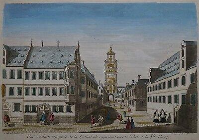 Augsburg - Guckkastenblatt Heilig Kreuzer Tor - Original von Bauvais 1740 - Rar