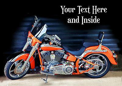 PERSONALISED HARLEY DAVIDSON MOTOR CYCLE BIRTHDAY FATHER DAY CARD Illus insert - Harley Davidson Birthday