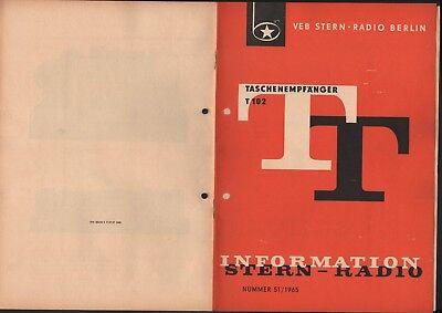 BERLIN, Prospekt 1965, VEB Stern-Radio Berlin Taschenempfänger T 102